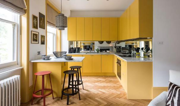 yellow kitchen interiors